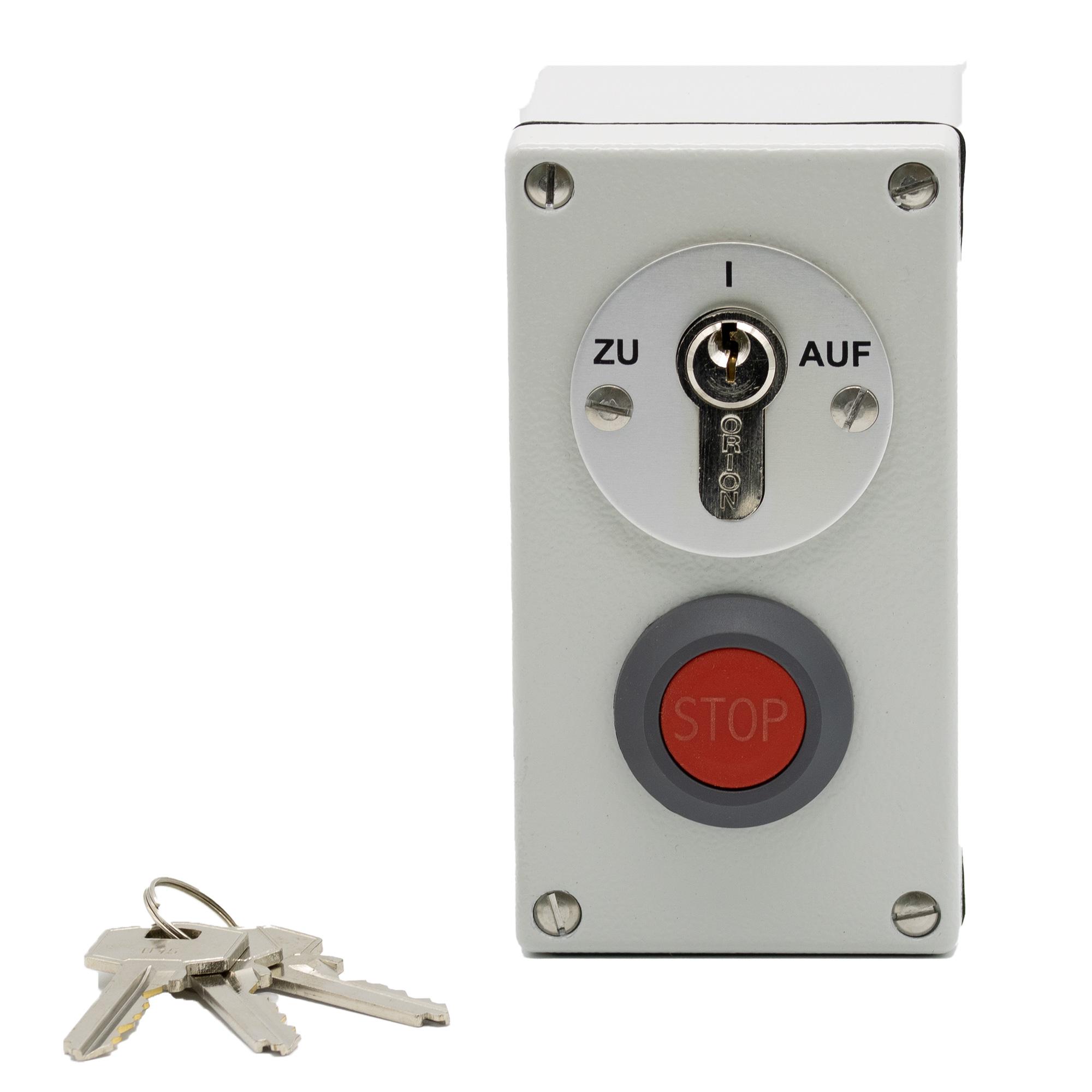 BFT Schlüsseltaster mit Notstop-Taster aufputz